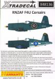 X48136 1/48 F4U-1 Corsair. R New Zealand AF decals (4)